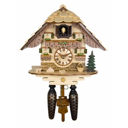 Musical Black Forest Quartz Natural Colored Chalet Style Cuckoo Clock