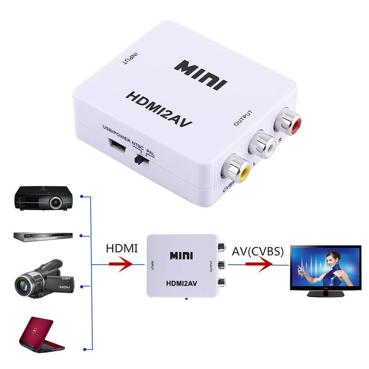 Black Mini 1080P HDMI to RCA Audio Video AV CVBS Adapter Converter For HDTV