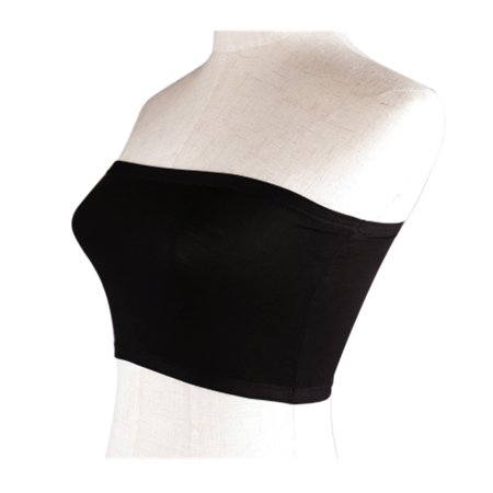 Women's Ladies Soft Elastic Strapless Bandeau Tube Tops No Pad Chest Wraps (Black)