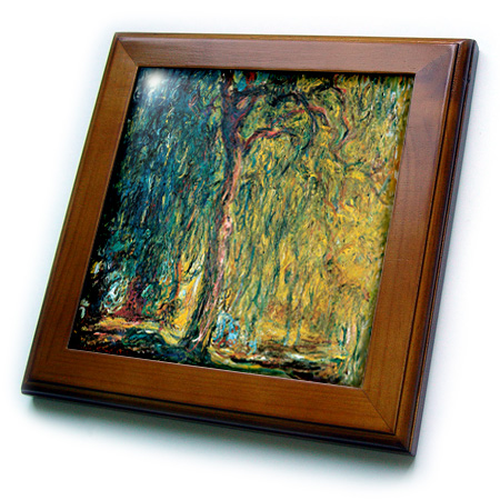 3dRose Picture Of Monets Painting Weeping Willow - Framed Tile, 6 by 6-inch