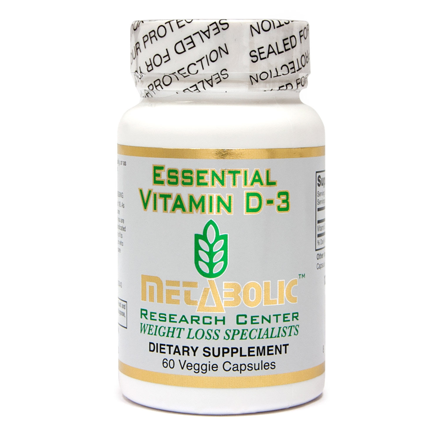 Vitamin D3 by Metabolic Research Center, Dietary Supplement, 60 count
