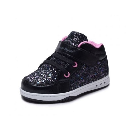 Girls' Toddler Glitter High Top Sneaker Shoe - Lace Free Hook n Loop Closure - Two Colors Blush and Black/Pink - Toddler Sizes 5, 6, 7, 8, 9 and 10 ()
