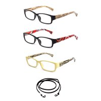 """3 Pack Newbee Fashion- """"Ceka"""" Slim Fit Squared Fashion Reading Glasses with Lanyard +2.00"""