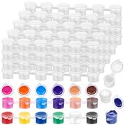 240 Pieces Empty Paint Pot, Caffox 40 Strips Acrylic Mini Paint Container Strips Storage with Lids for Classrooms School Arts and Crafts Paint (3ml/ 0.1oz)