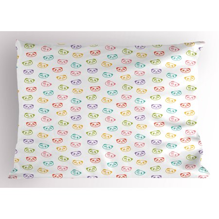 Baby Pillow Sham Funny Panda Bears Colorful Cute Animals Cheerful Smile Wild Kids Nursery Baby Concept, Decorative Standard King Size Printed Pillowcase, 36 X 20 Inches, Multicolor, by Ambesonne
