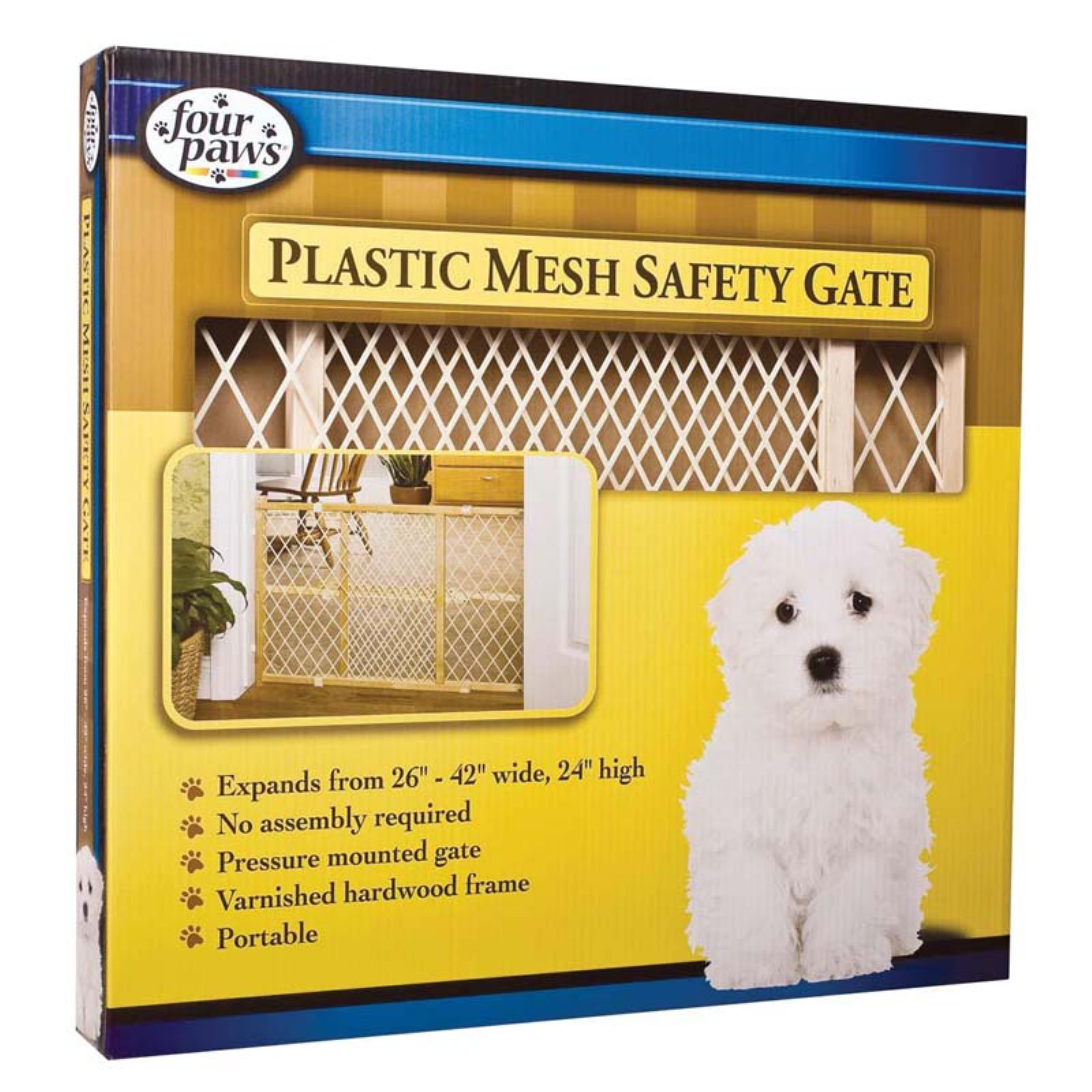 Four Paws Plastic Mesh Wood Frame Pet Gate