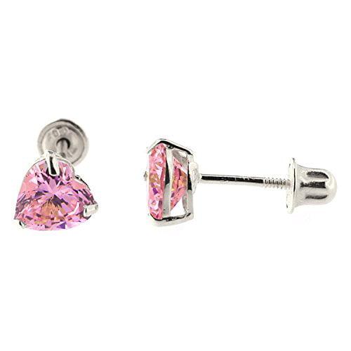 14k White Gold Heart shape Pink Cubic Zirconia CZ Stud Earrings - 6mm