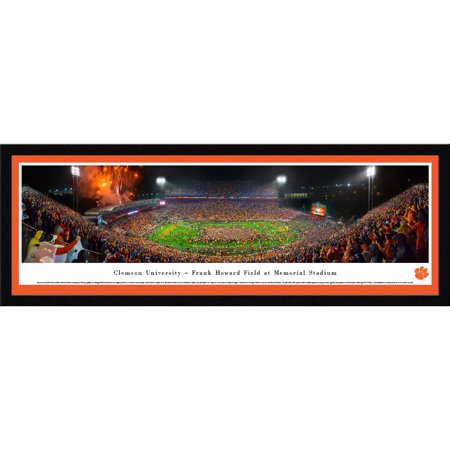 Clemson University Night Football vs Notre Dame - Blakeway Panoramas NCAA College Print with Select Frame and Single (College Football Scores Notre Dame Vs Usc)