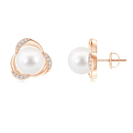 721585afbcb Women s Day Sale - Freshwater Cultured Pearl Floral Stud Earrings in 14K  Rose Gold (9mm Freshwater Cultured Pearl)- SE1307FWPRD-RG-AA-9