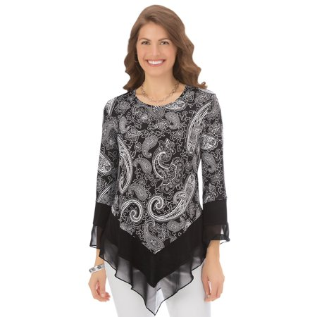 Women's Paisley Printed Tunic Top With Sheer Trim V Shaped Hemline and 3/4