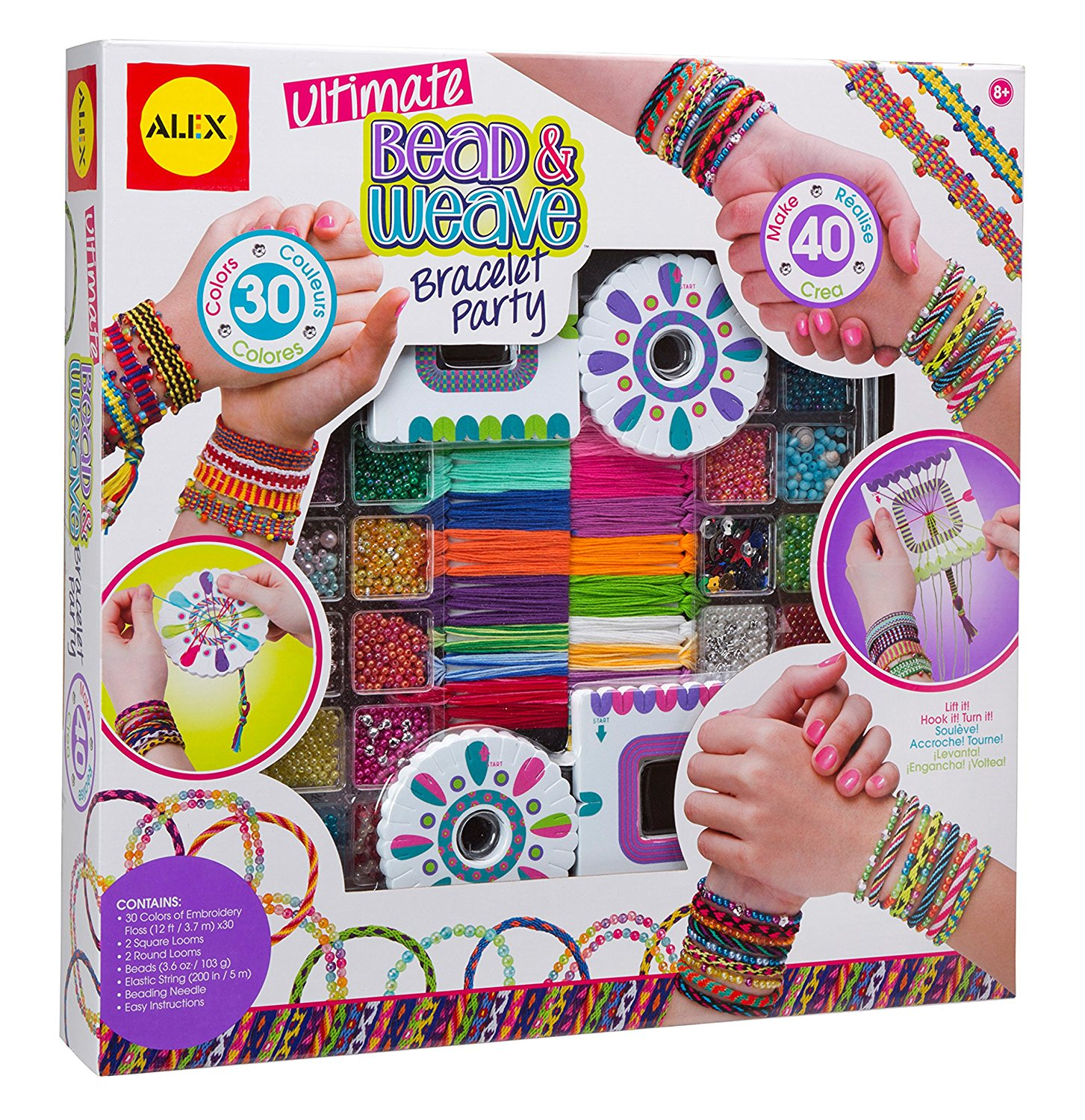 Alex Toys Diy Wear Ultimate Bead And Weave Bracelet Party Make 40 Friendship Bracelets In So Many Styles Beaded Woven Flat Round By