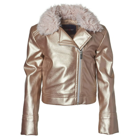 Light Pink Moto Jacket (Limited Too Fur Trim Metallic Moto Jacket (Big)