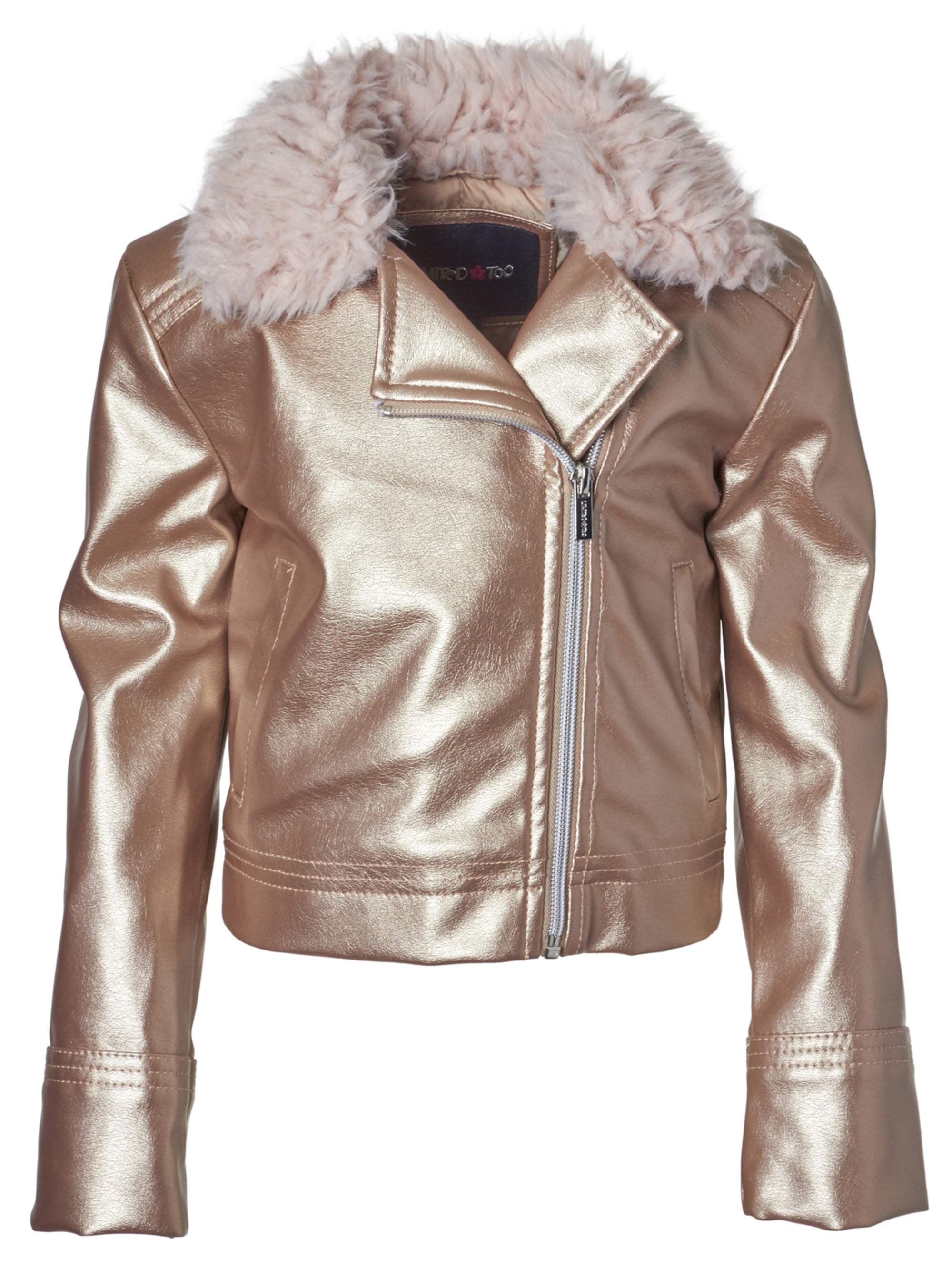 Limited Too Fur Trim Metallic Moto Jacket (Big Girls)