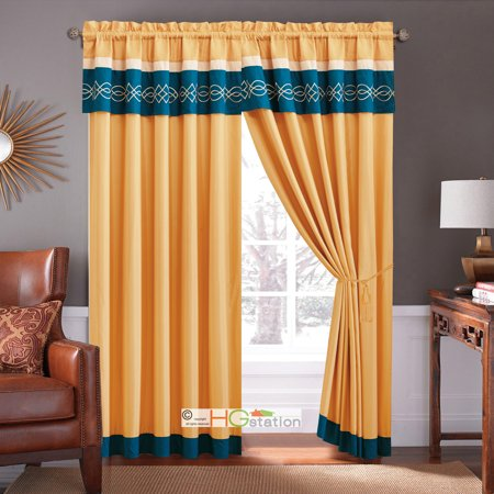 4 Pc Scroll Embroidery Striped Curtain Set Gold Blue Beige