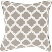 "20"" Gray and Ivory Mesmerizing Morrocan Decorative Throw Pillow"
