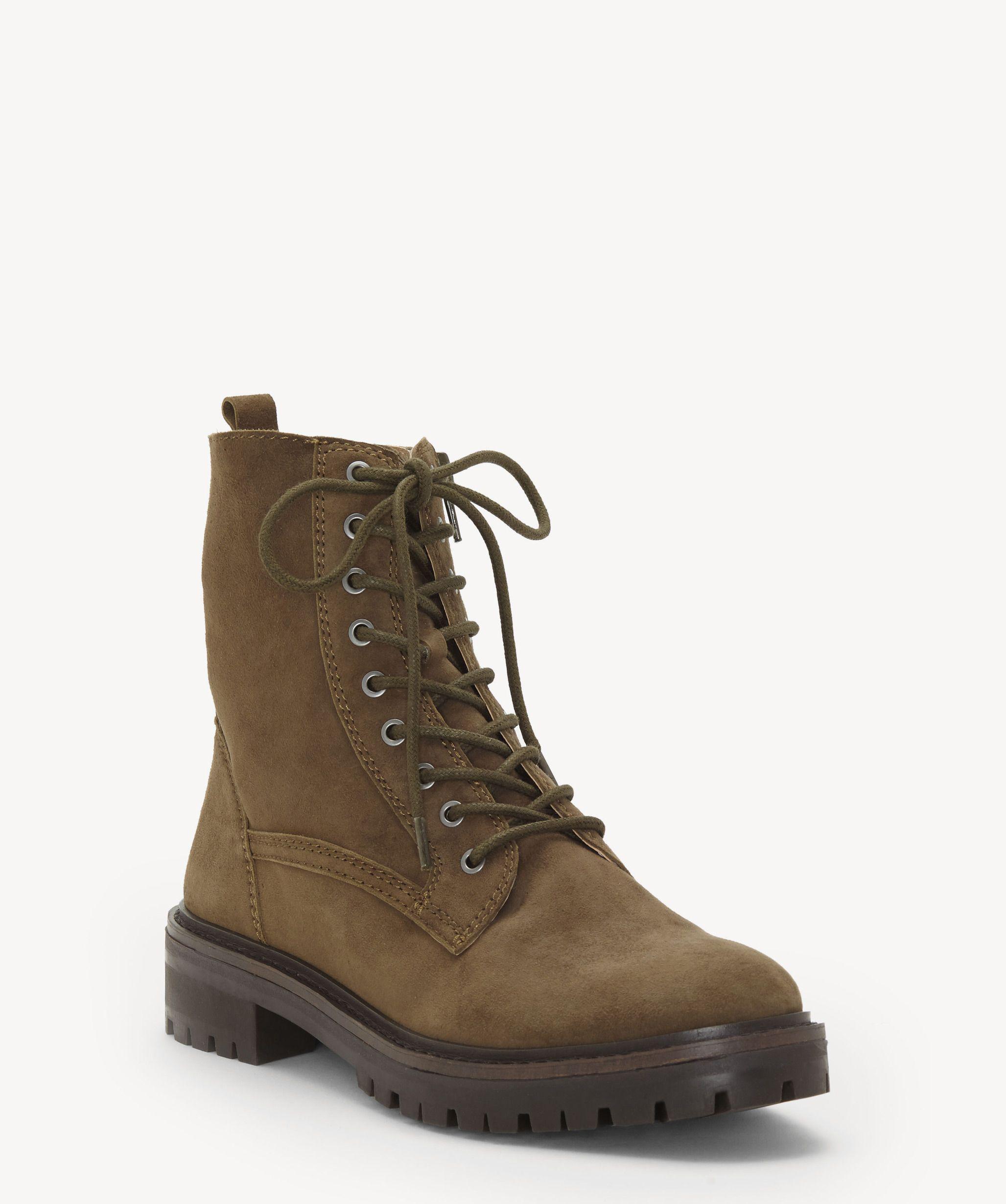 Lucky Brand Women's Millitary Green Idara Lace Up Flat Combat Boot Bootie (7.5)