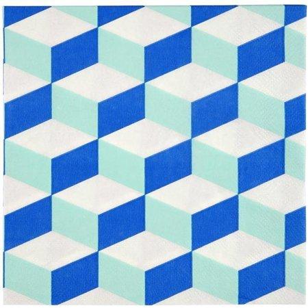 Meri Meri Cubic Blue And Mint Patterned Large Napkin