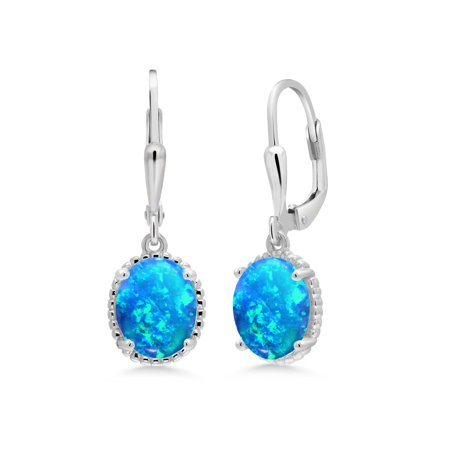1.12 Ct Oval Cabochon Blue Simulated Opal 925 Sterling Silver Earrings