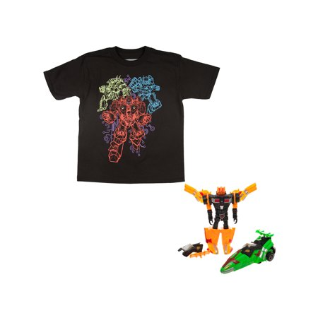 Bioworld Glow-In-The-Dark Ultrabot Black Short Sleeve Graphic Tee Including Robot Toy Gift With Purchase (Little Boys & Big Boys)