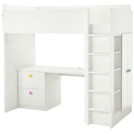 Ikea Twin Size Loft bed with 2 drawers/2 doors, white 38386.26514.614 (Twin Ideas)
