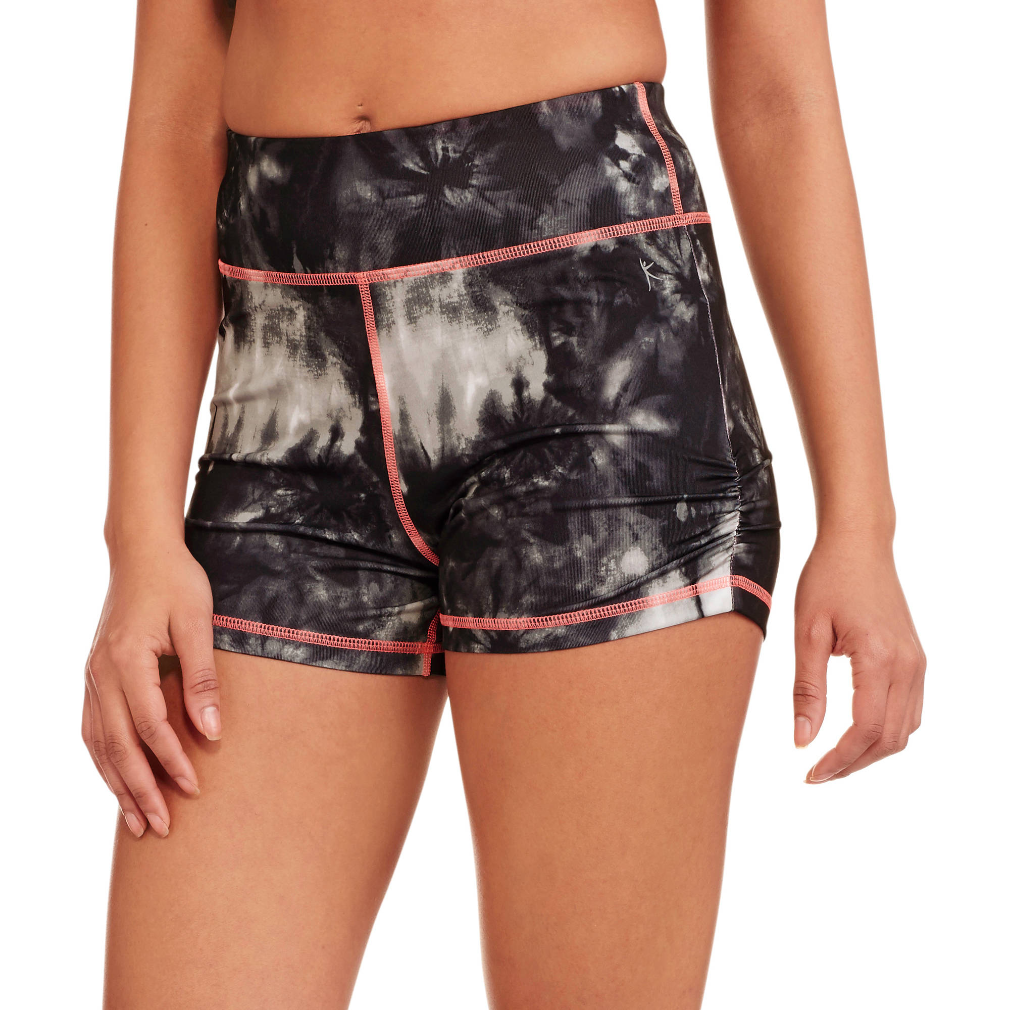 Danskin Now Juniors Hidden Jungle High Waisted Shorts with Shirring