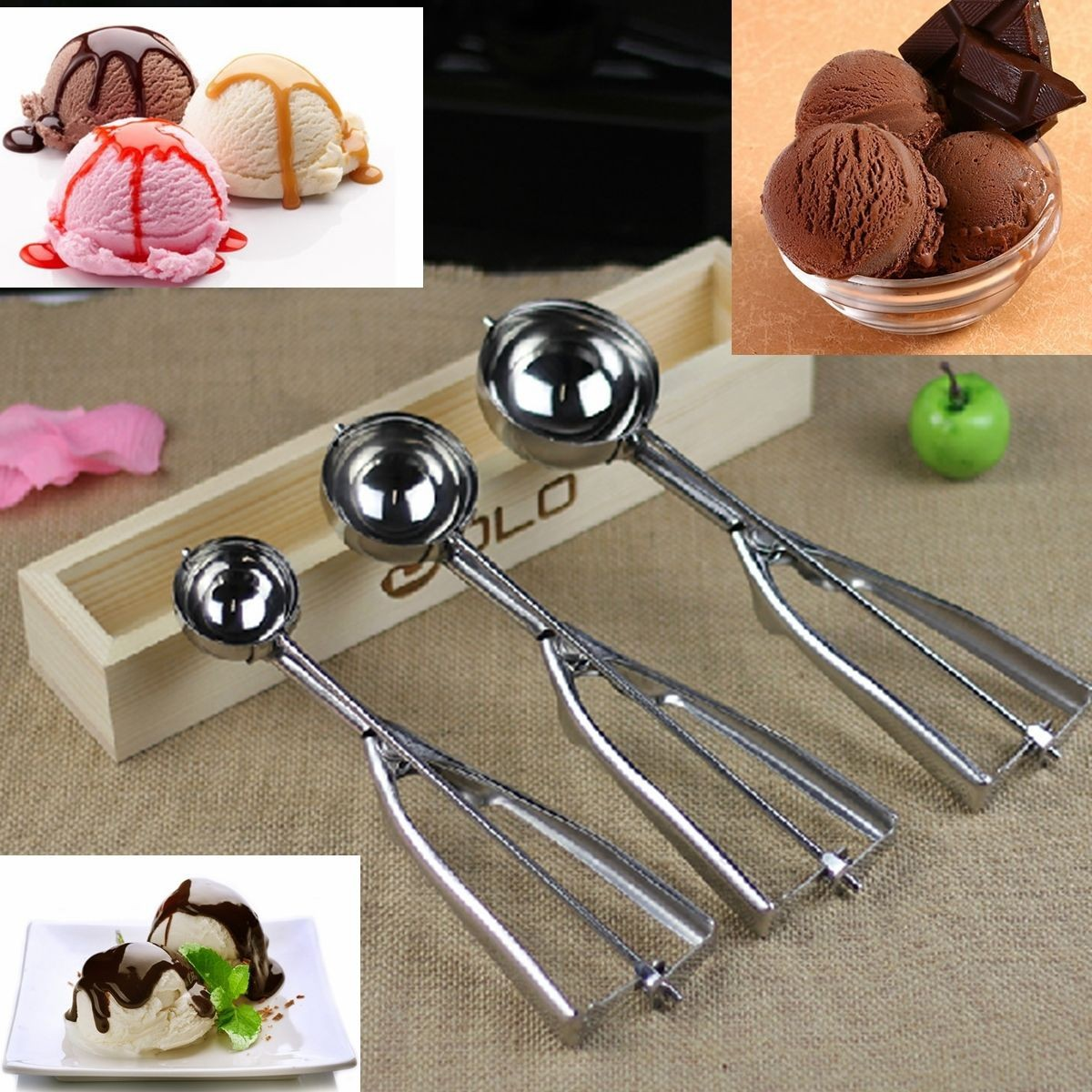 3Pcs Stainless Steel Spring Handle Ice Cream Scoop Spoon Mashed Potato Cookie Spoons Set