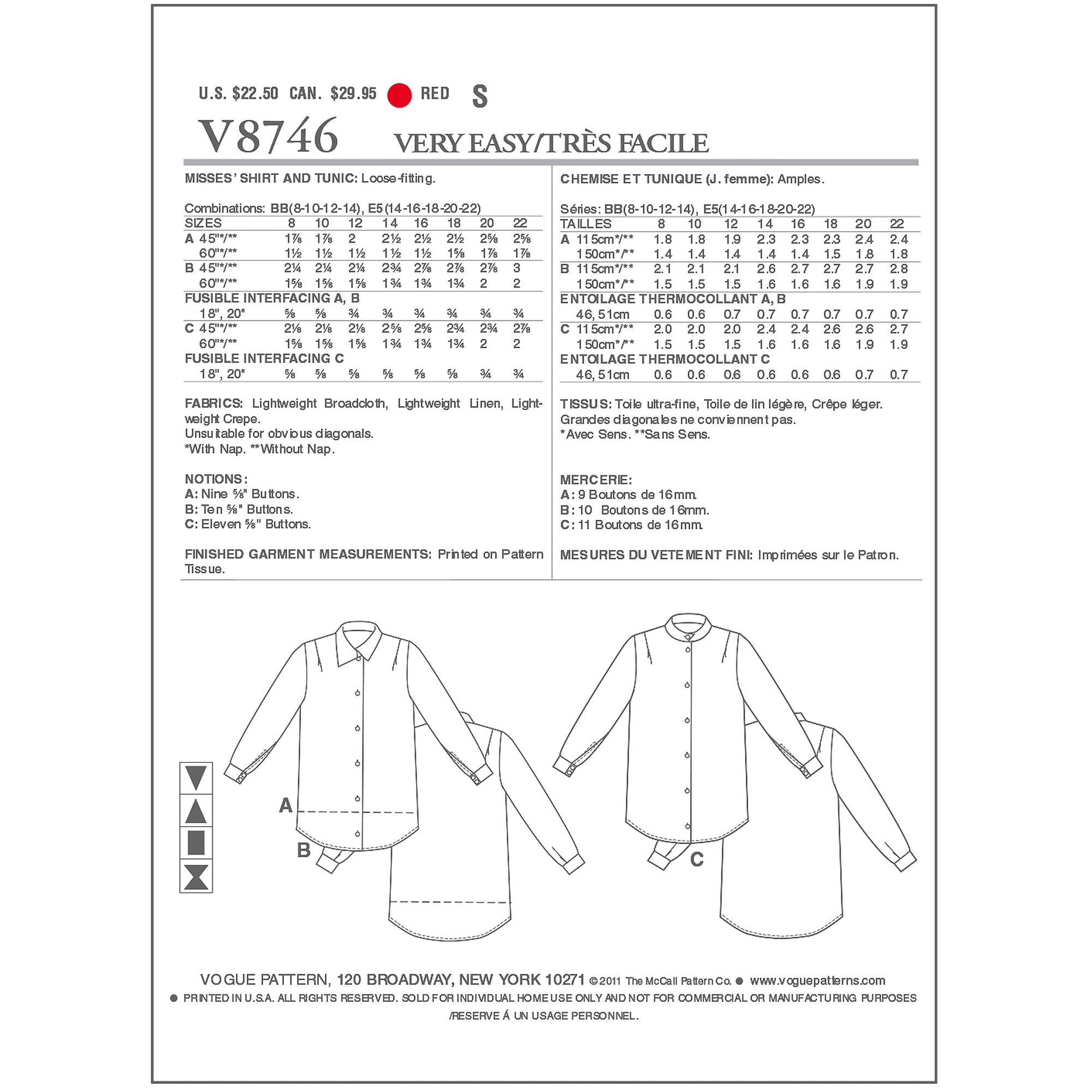 Vogue Pattern Misses' Shirt and Tunic, BB (8, 10, 12, 14)