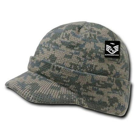 RapDom Jeep Hat Watch Beanie w/ Visor Military Camouflage Camo GI Knit Cap (Universal Digital) (Jeep Hat)