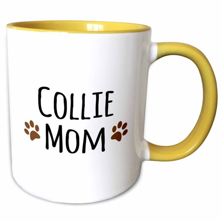 3dRose Collie Dog Mom - Doggie by breed - brown muddy paw prints love - doggy lover - proud mama pet owner - Two Tone Yellow Mug, 11-ounce