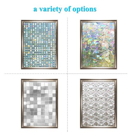 3 Types 3D Privacy Window Films Sticker Non Adhesive Static Cling Reusable Glass Film for Home OFFICE, Reusable Film For Heat Control Sun Blocking Stained Glasses ()