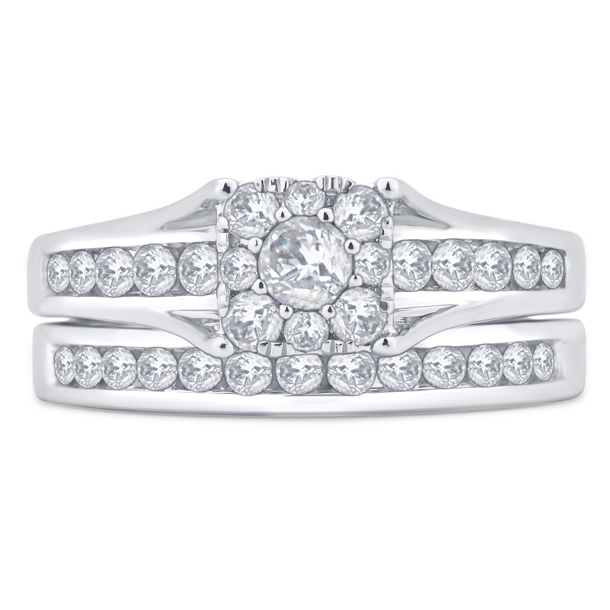 1 Carat T.W. Square Diamond 10kt White Gold Bridal Set