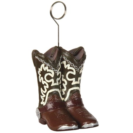 Pack of 6 Brown Country Western Cowboy Boots Photo or Balloon Holder Party Decorations 6 oz. (Country Western Decorations)
