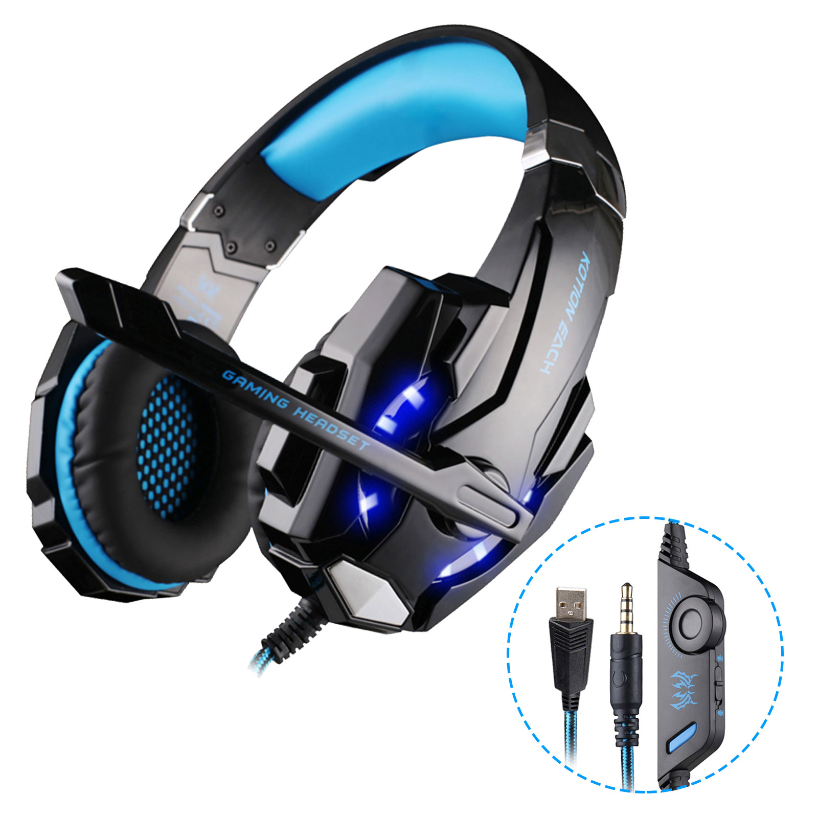 Noise Cancelling LED Headphone for Gamers Bass Over Ear Headset add Mic