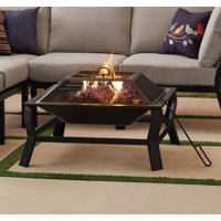 """Mainstays Greyson 30"""" Square Wood Burning Fire Pit with Mesh Screen"""