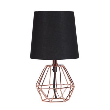"11.25"" In Wesley Geometric Copper Metal Wire Hexagon Table Lamp"
