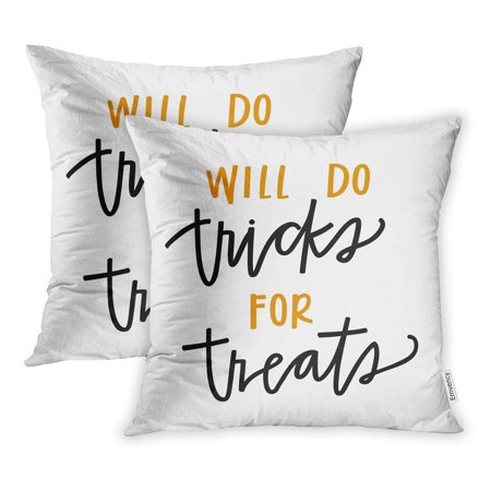 CMFUN Orange Halloween Will Do Tricks for Treats Quote Black Pillow Case Pillow Cover 16x16 inch Set of 2