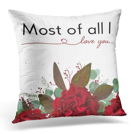 ARHOME Floral Garden Red Burgundy Bohemian Rose Flower Seeded Antique Eucalyptus Branch Silver Green Fern Leaves Pillow Case Pillow Cover 20x20 (Red Rose Hanging)