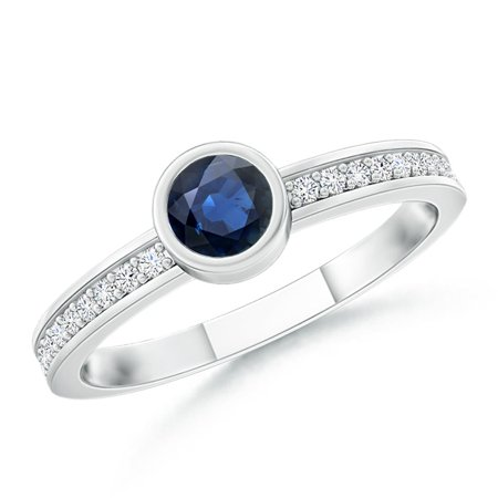 September Birthstone Ring - Bezel Round Sapphire Stackable Ring with Diamond Accents in 14K White Gold (3.5mm Blue Sapphire) - SR0751S-WG-AA-3.5-4