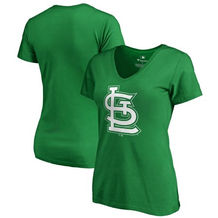 St. Louis Cardinals Fanatics Branded Women's St. Patrick's Day White Logo Plus Size V-Neck T-Shirt - Kelly (Plus Size St Patrick's Day Shirts)