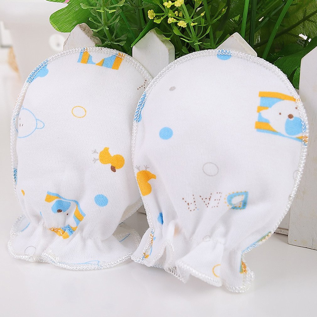 Color:Randomly Delivered Winter Full Cotton Newborn Baby Boys Girls Anti Grasping Gloves Breathable Keep Warm Infant Face Protect Gloves 0-3 Months