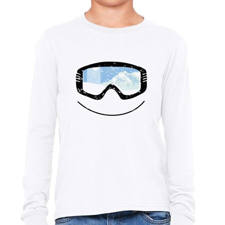All Mountain Twin Tip Snowboard - Snowboarding Skiing Googles with Mountain Reflection Girl's Long Sleeve T-Shirt