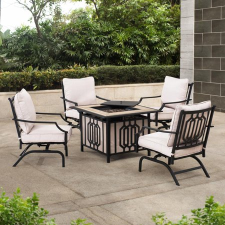 Image of Sunjoy 5-pc. Aluminum Firepit Chat Set with Beige Back Pillows and Seat Cushions