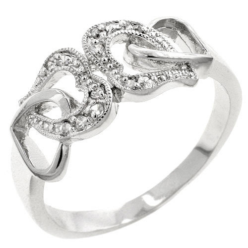 Kate Bissett White Gold Rhodium-Bonded Cubic Zirconia Hearts Ring