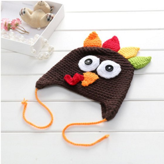 6d9ea170643 Baby   Toddlers Thanksgiving Turkey Beanie Hat Cap Cute Cartoon Animal  Winter Knit Beanie With Ear Flap Photograph Props