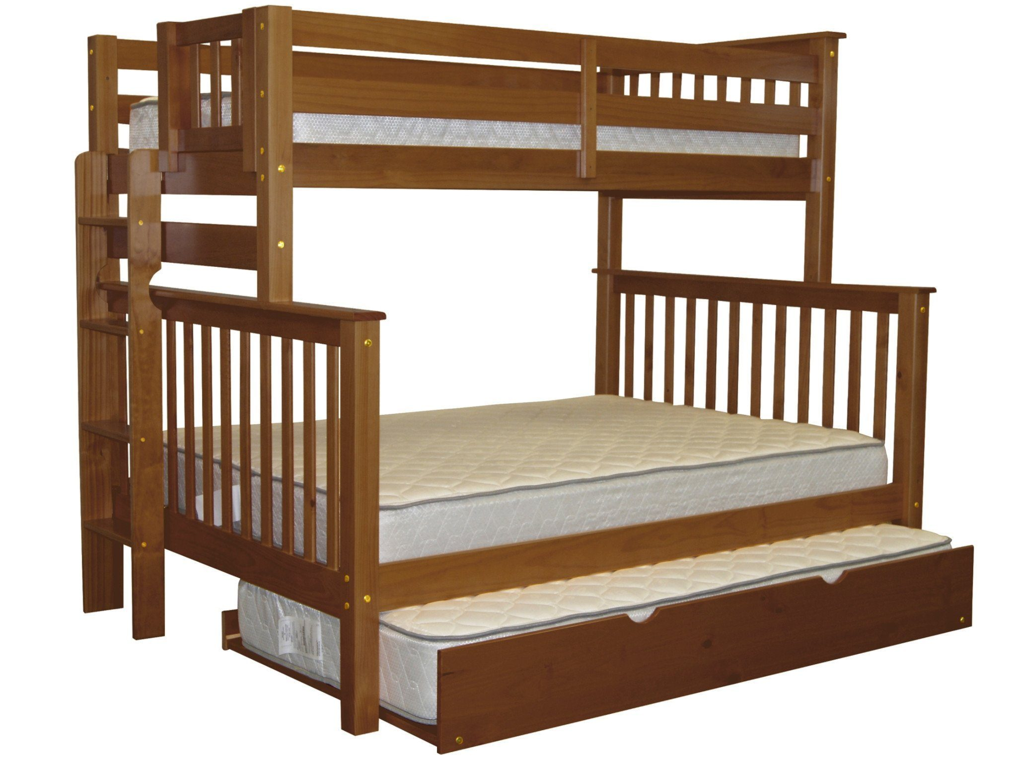 Bedz King Bunk Beds Twin over Full Mission Style with End Ladder and a Twin Trundle, Cappuccino by Bedz King