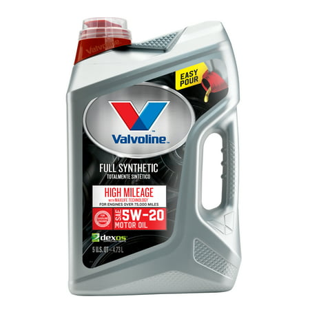 (3 Pack) Valvoline Full Synthetic High Mileage with MaxLife Technology SAE 5W-20 Motor Oil - Easy Pour 5 (5w20 Synthetic Oil)