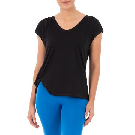 Women's Active Shirred Sleeve T-shirt with Side Knot (Tshirt Athletic)