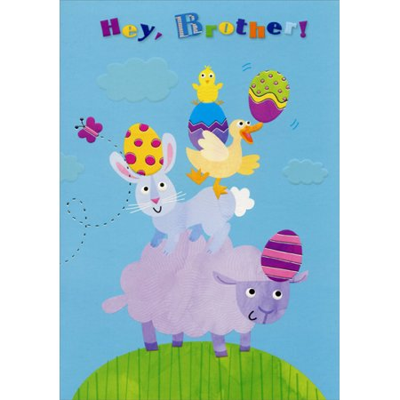 Designer Greetings Lamb, Bunny, Duck and Chick: Brother Juvenile Easter Card (Bunny Or Duck)