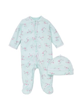 Little Me Floral Spray Flower Snap Front Footie Pajamas with Hat For Baby Girls Sleep N Play One Piece Romper Coverall Infant Footed Sleeper; Pijamas Para Bebes- Green and Pink - Preemie