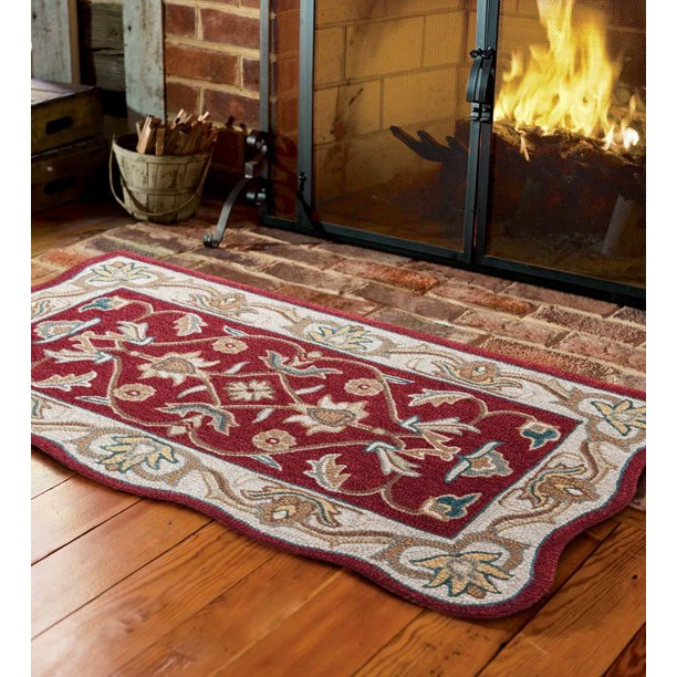 Hand Tufted Fire Resistant Scalloped Wool Mclean Hearth Rug Walmart Com Walmart Com